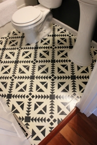 DIY Stenciled Tile Floor